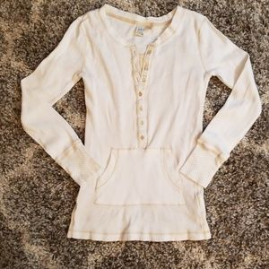 SO White Long Sleeve w/Tan Polka Dot Accents Top